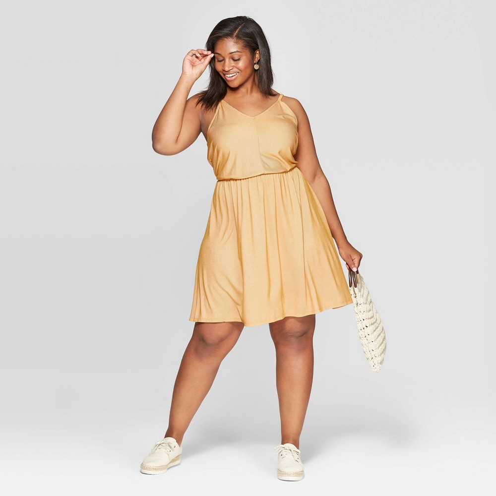 Women's Plus Size Sleeveless V-Neck Knit Dress - Universal Thread Squash 4X, Yellow