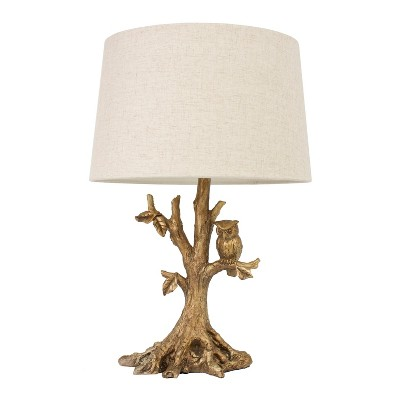 Textured Leaf Owl Table Lamp Gold - Decor Therapy