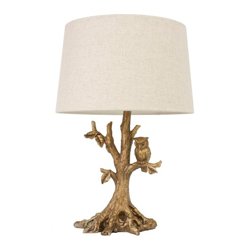 Textured Leaf Owl Table Lamp Gold - Decor Therapy - image 1 of 2
