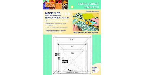 Fast2cut Simple Square Templates : Quickly Cut 3 1/2 Inch, 4 1/2 Inch & 5 1/2 Inch Squares (Paperback) - image 1 of 1