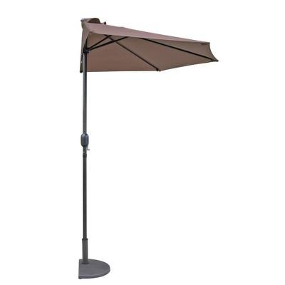 Lanai 8.75' x 4.375' Half Umbrella - Coffee - Island Umbrella