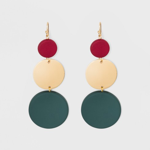 Drop Ball with Spray Matte Beads and Disc Drop Earrings - A New Day™ - image 1 of 3