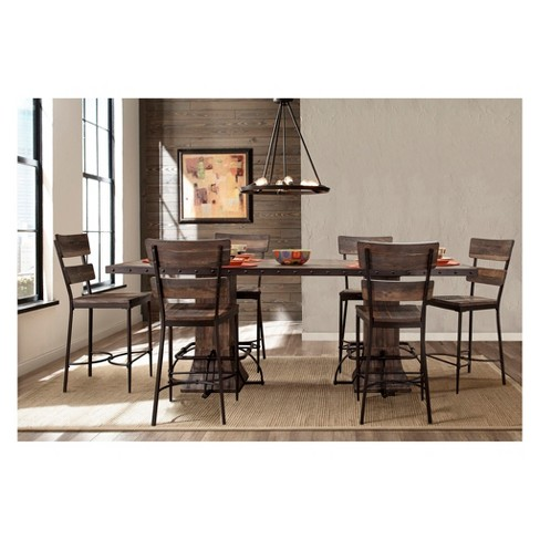 Jennings 7pc Dining Set With Rectangle Counter Height Table Six Chairs