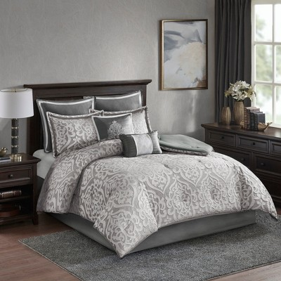 8pc Queen Eliot Jacquard Comforter Set Silver