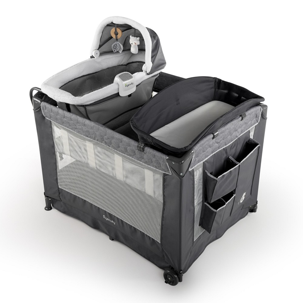 Image of Ingenuity Dream Comfort Smart and Simple Playard - Connolly, Gray Black