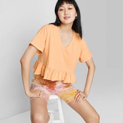 Women's Short Sleeve V-Neck Peplum Cropped T-Shirt - Wild Fable™