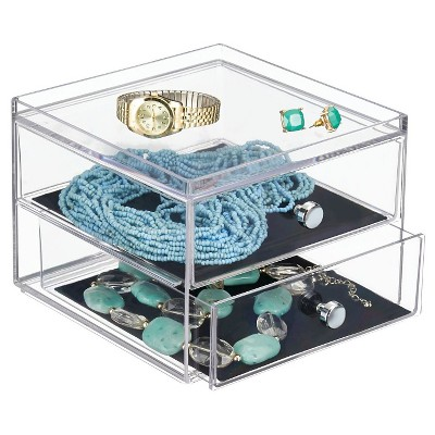 InterDesign 2 Drawer Polystyrene Jewelry Box - Clear/Black