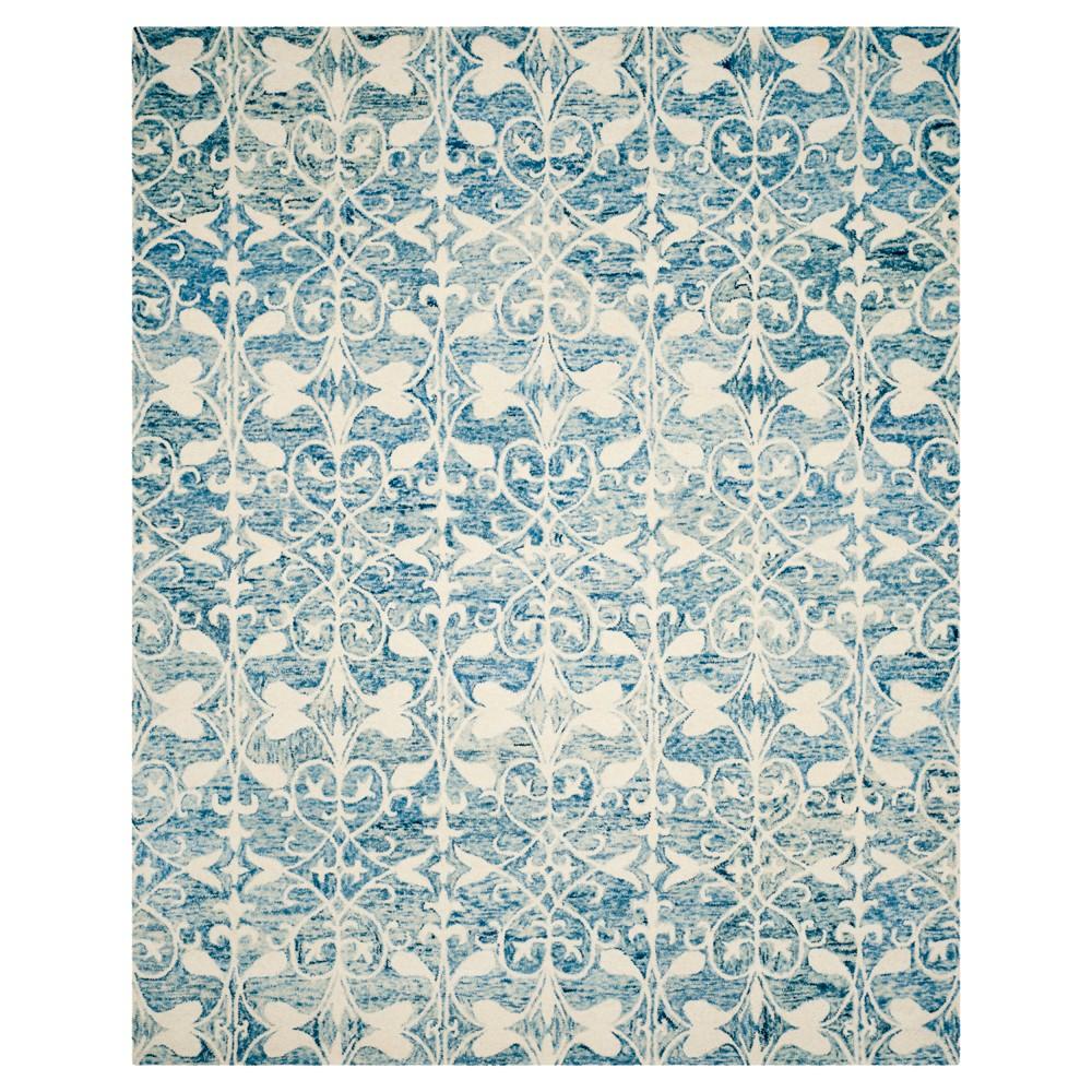 Dark Blue/Ivory Shapes Tufted Area Rug 8'X10' - Safavieh