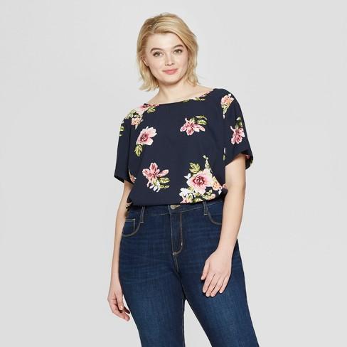 e53306c8330c0 Women s Plus Size Floral Print Short Sleeve Crew Neck Button Back Top - Ava    Viv™ Navy