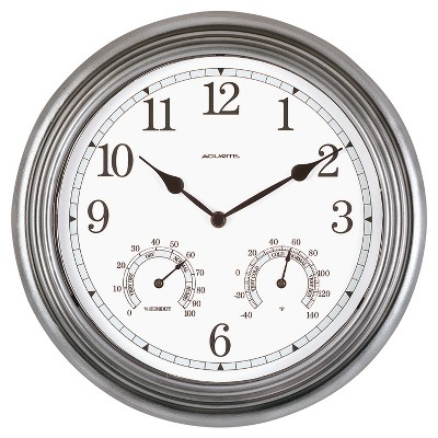 "13.5"" Metal Outdoor / Indoor Wall Clock with Thermometer and Humidity - Acurite"