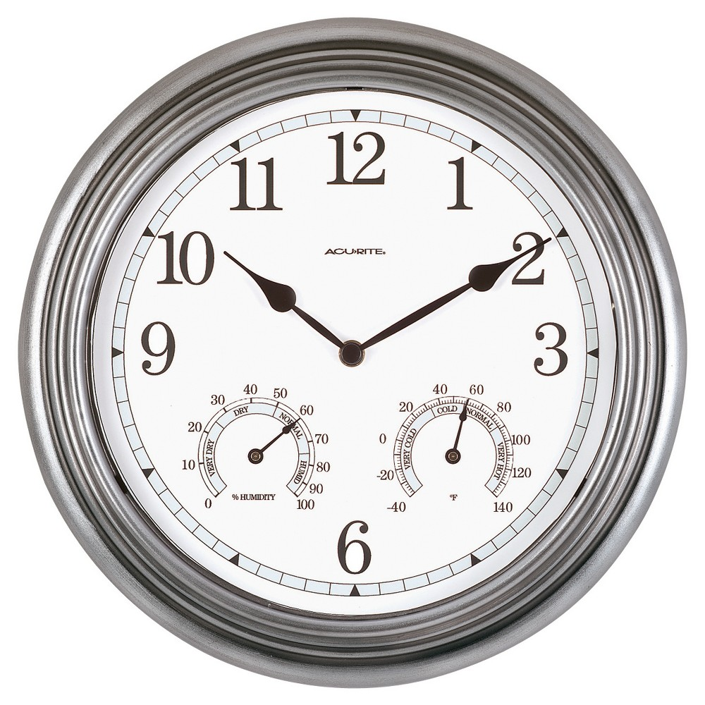 "Image of ""13.5"""" Metal Outdoor / Indoor Wall Clock with Thermometer and Humidity - Gray - Acurite"""