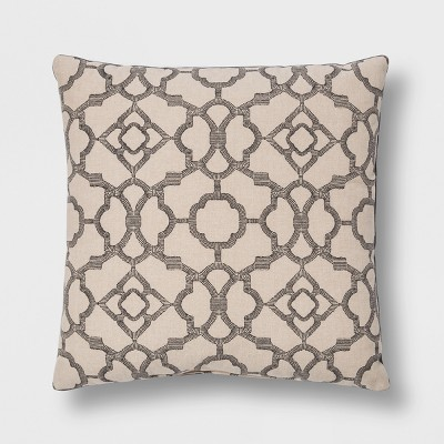 Printed Lattice With Velvet Reverse Square Throw Pillow Gray - Threshold™