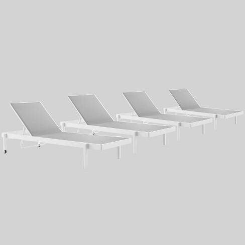 4pc charleston outdoor patio aluminum chaise lounge chair white gray modwa