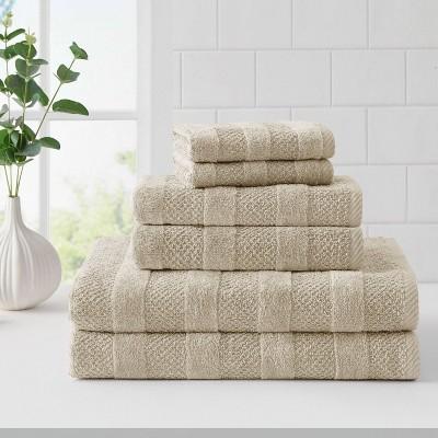 6pk Quick Dry Bath Towel Set Beige - Cannon