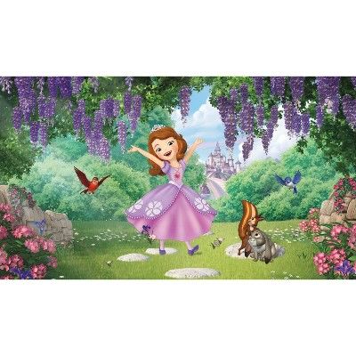 6'x10.5' XL Sofia the First Friends Garden Chair Rail Prepasted Mural Ultra Strippable - RoomMates