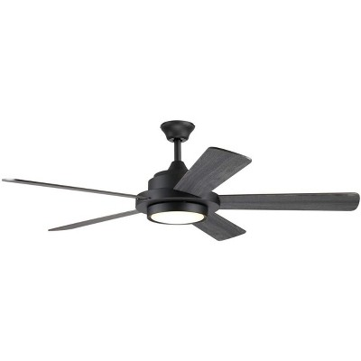 "Hearth Brands 52"" Dual Mount Matte Black Ceiling Fan with Frosted White Glass- 110118001"