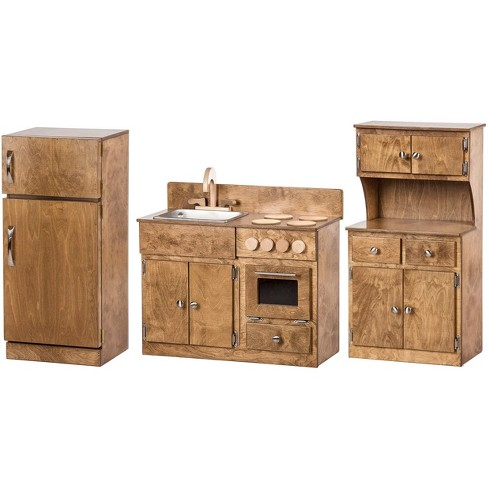 Remley Wooden Sink/Stove, Refrigerator & Hutch Kitchen Playset CPSIA Kid  Safe Finish - Ships Assembled, Harvest