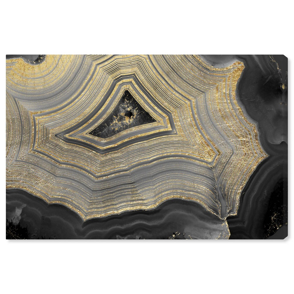 Image of 15'' x 10'' Dubbio Geode Unframed Wall Canvas Gray/Gold - Oliver Gal