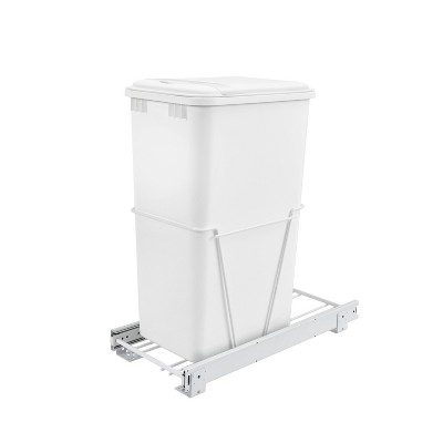 Rev-A-Shelf RV-12PB-50 S 50 Quart Pull-Out Sliding Waste Bin Container Garbage Trash Can for Kitchens with Lid, Slides, and Simple Installation, White