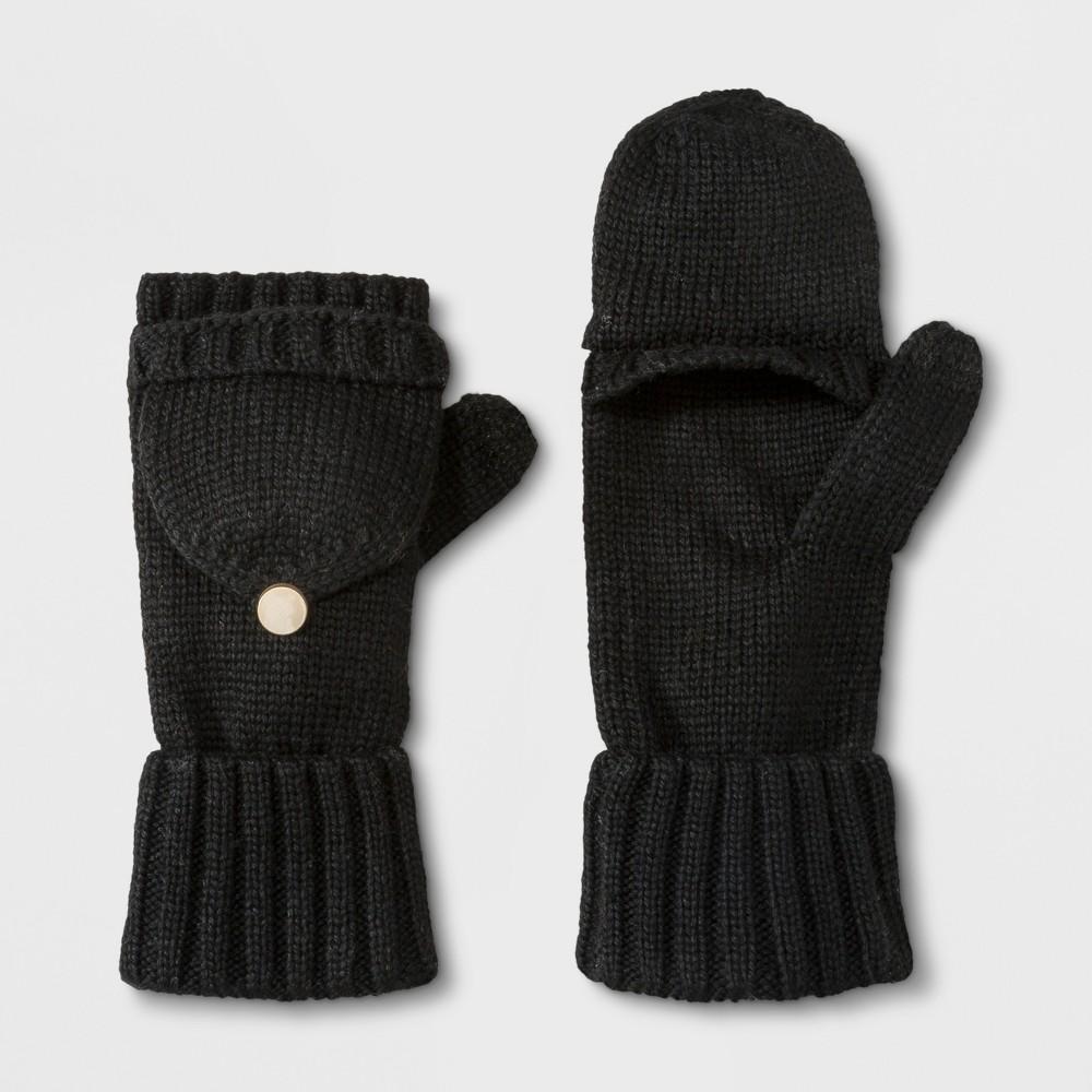 Women's Flip Top Gloves - A New Day Black