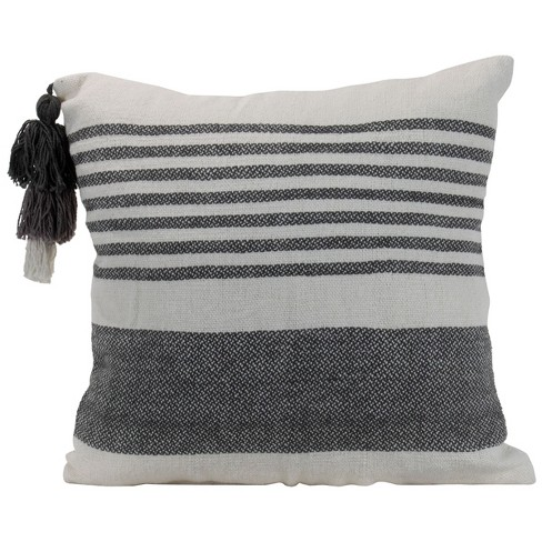 Gray Striped Hand Woven 18x18 Decorative Cotton Throw Pillow With Hand Tied Umbrella Tassel Foreside Home Garden Target