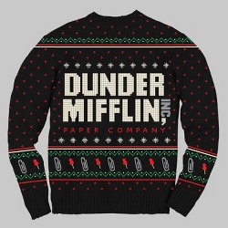 Men's The Office Dunder Mifflin Ugly Holiday Sweater - Black