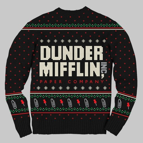 Men's The Office Dunder Mifflin Ugly Holiday Sweater - Black - image 1 of 1