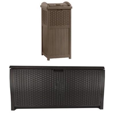 Suncast 33 Gal. Resin Wicker Outdoor Garbage Can & 99 Gal. Patio Resin Pool Box