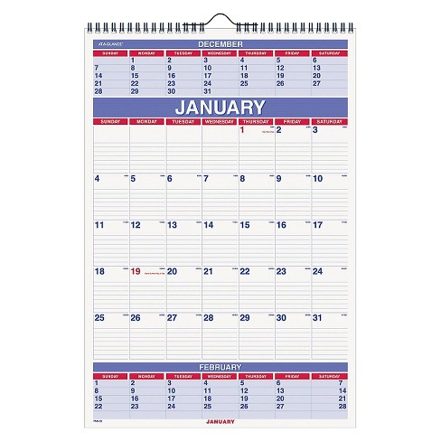 AT-A-GLANCE® Three-Month Wall Calendar 15 1/2 x 22 3/4 2018 - image 1 of 1
