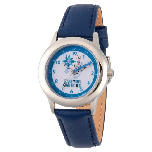 Boys' Disney Frozen Olaf Stainless Steel Time Teacher Watch - Blue - image 1 of 1
