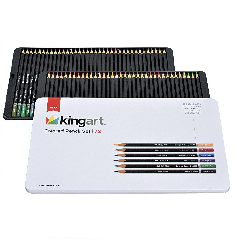 Image of Kingart 72ct Colored Pencil Set In Tin Case - Pro level