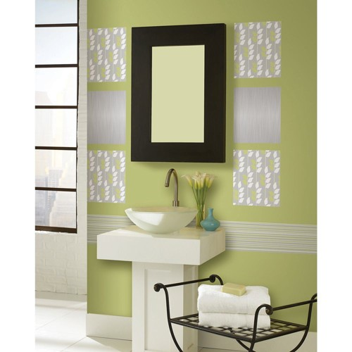 Wall Pops Wallpaper Stickers - Flora Blox, Gray Green White