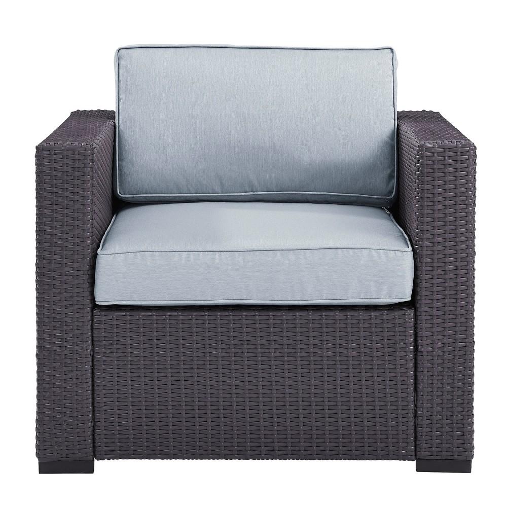 Biscayne Armchair with Mist (Blue) Cushions - Brown/Mist - Crosley