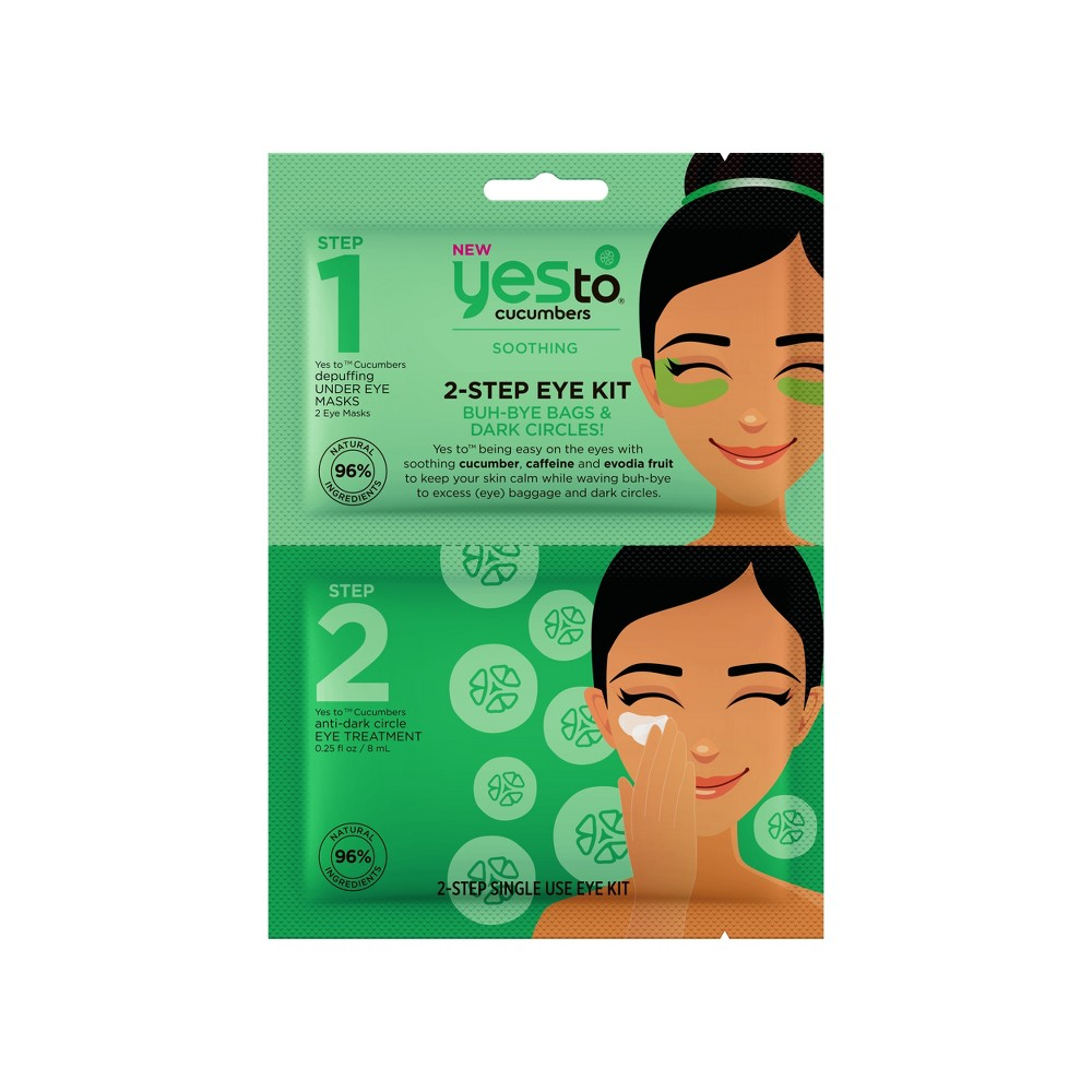 Image of Yes To Cucumbers 2-Step Single Use Eye Kit Buh-Bye Bags & Dark Circles!