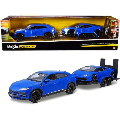 Lamborghini Urus Blue with Lamborghini Huracan Coupe Blue and Flatbed Trailer Set of 3 pcs 1/24 Diecast Model Cars by Maisto