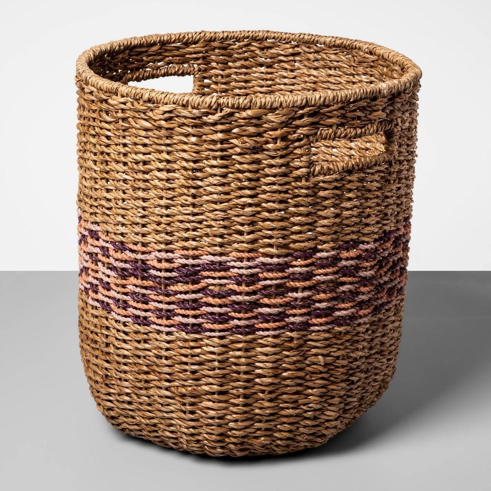 Tall Basket Pink Striped 17