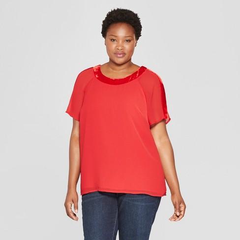 7510978ca70 Women s Plus Size Velvet Trim Neckline Short Sleeve Top - Ava   Viv™