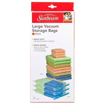 Home Basics Value Pack Plastic Vaccum Storage Bags, (Set of 3), Clear