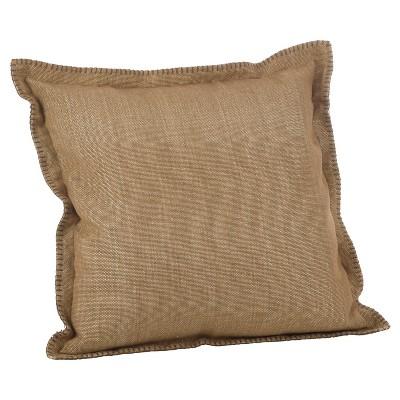 Light Brown Celena Whip Stitched Flange Design Throw Pillow (20 )- Saro Lifestyle®