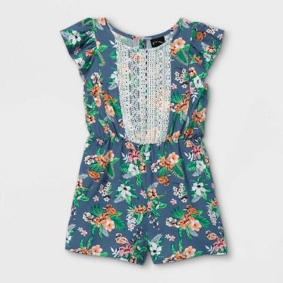 Toddler Girls' Tropical Floral Lace Ruffle Short Sleeve Romper - art class™ Dark Blue