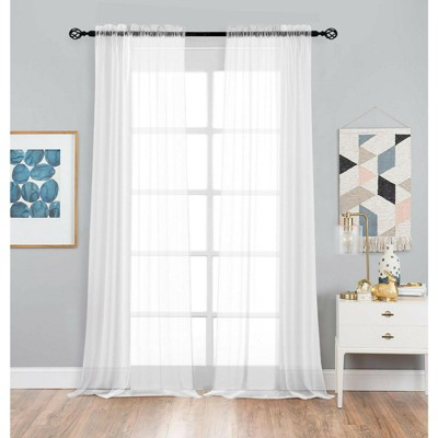 Kate Aurora Living 2 Pack Basic Home Rod Pocket Sheer Voile Window Curtains