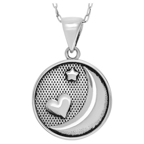 "Women's Journee Collection Moon and Back Textured Pendant Necklace in Sterling Silver - Silver (18"") - image 1 of 4"