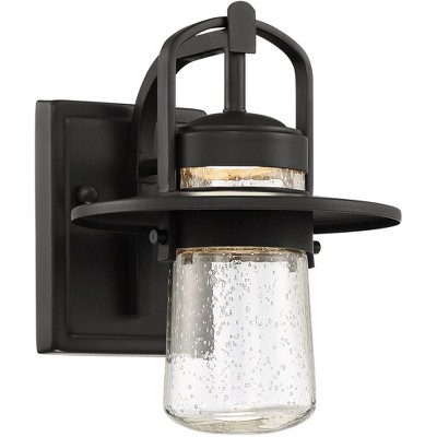 """John Timberland Modern Outdoor Wall Light Fixture LED Black 10"""" Clear Seedy Glass for Exterior House Porch Patio Deck Entryway"""
