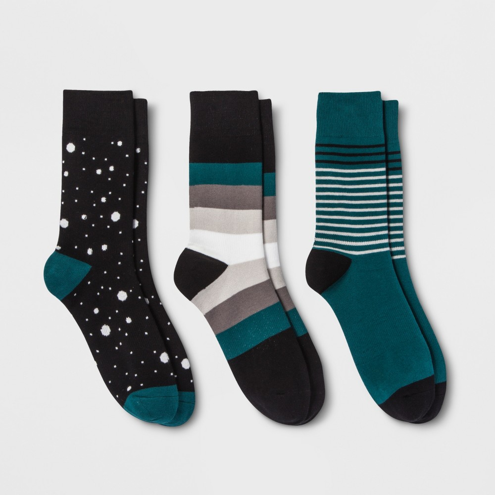 Pair of Thieves Men's Stripe Dot 3pk Casual Socks - Black/Green 8-12, Size: Small, Green Black was $14.99 now $10.49 (30.0% off)