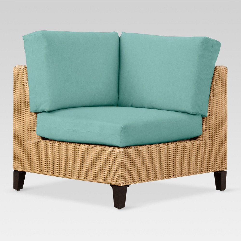 Fullerston Wicker Patio Corner Sectional Seat - Turquoise - Project 62