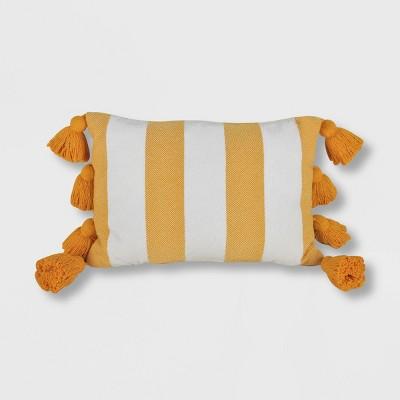 Chenille Striped Lumbar Throw Pillow Yellow - Opalhouse™