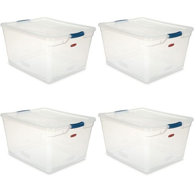 Rubbermaid Cleverstore Home/Office Organization 71 Quart Latching Clear Plastic Storage Tote Container Box Bin w/ Lid for Garage or Basement, (4 Pack)