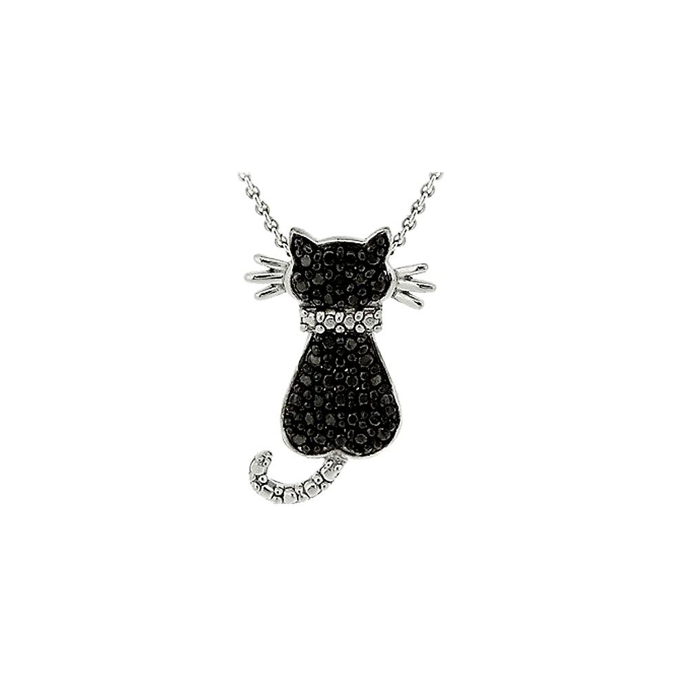 Sterling Silver Diamond/Accent Cat Necklace - Black (18), Women's, silver/black