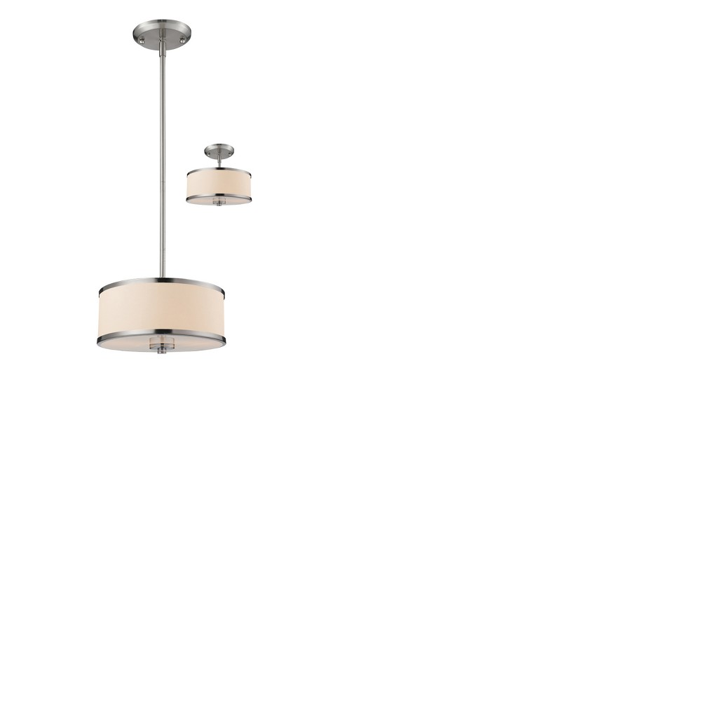 Convertible Pendant Ceiling Lights with White Linen Glass (Set of 2) - Z-Lite