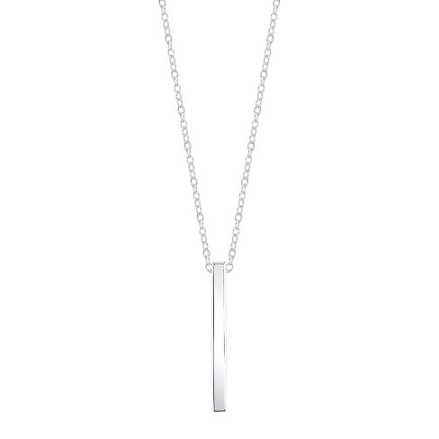 "Women's Sterling Silver Drop Bar Necklace - Silver (18.97"") - image 1 of 2"
